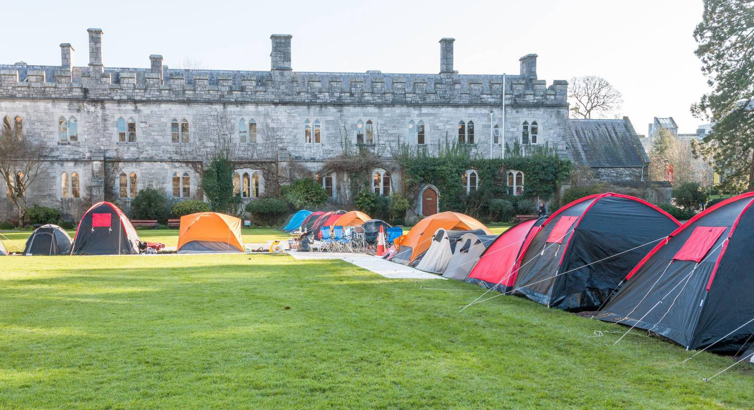 Students from University College Cork erected tents on the College Quad in protest at the Universities decision to increase rents for a third time in recent years.