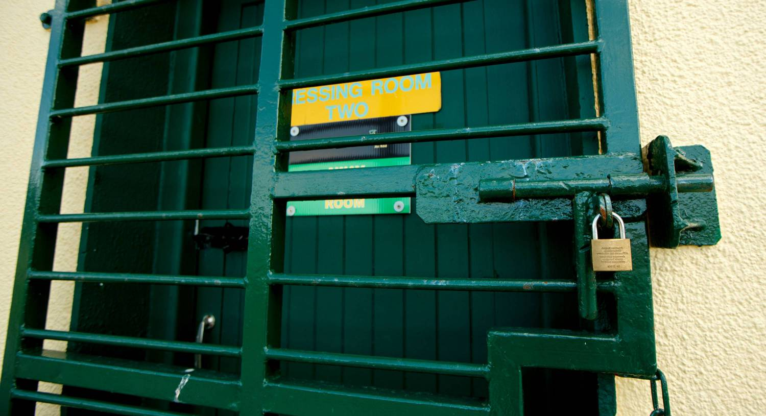 The locked dressing room at Fr Dowling Park, Rhode, Co Offaly. Photo: INPHO/James Crombie