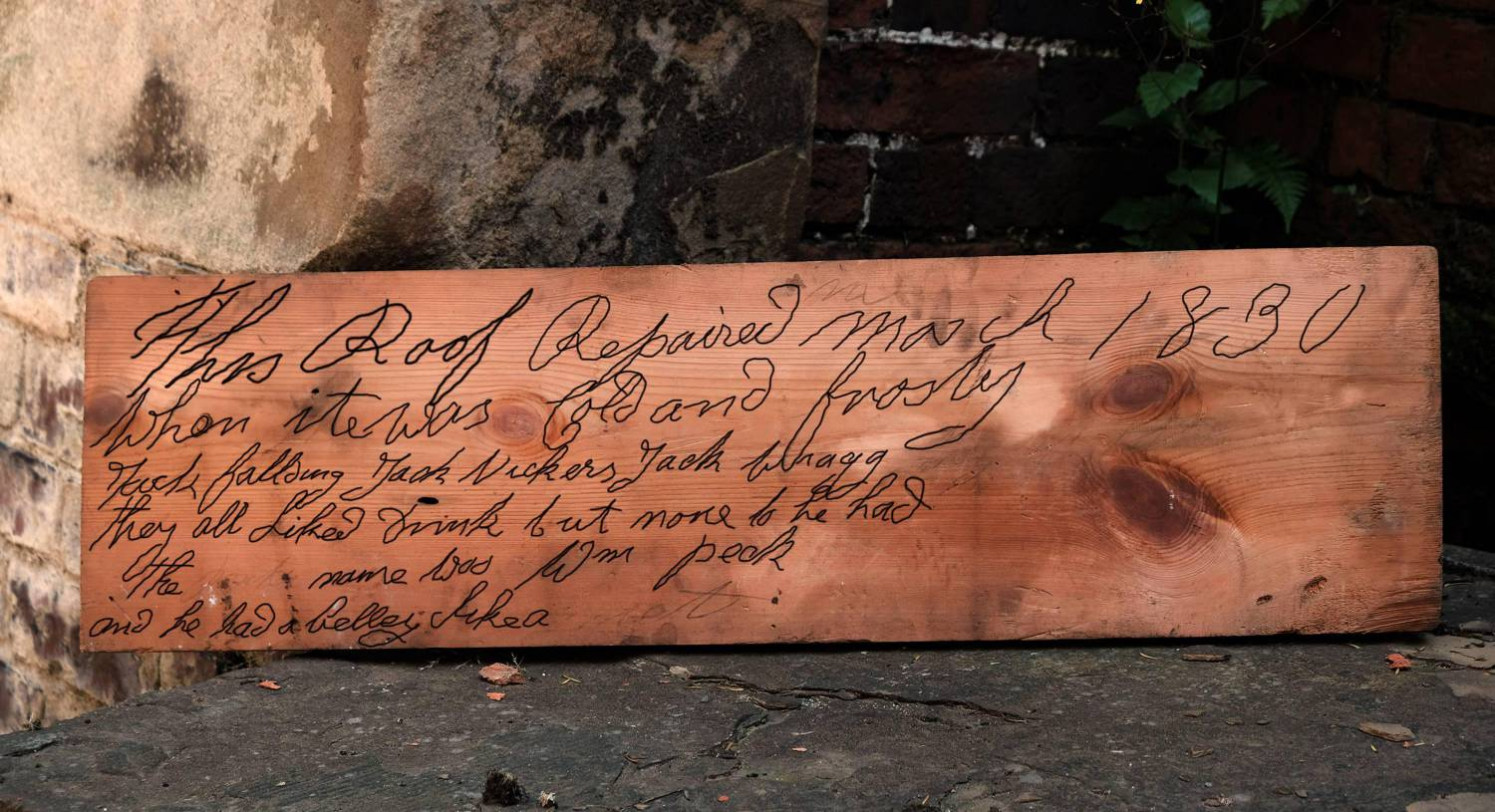 Uncovered roof board with an inscription etched into it from 1830, found in Wentworth Woodhouse. Picture: PA