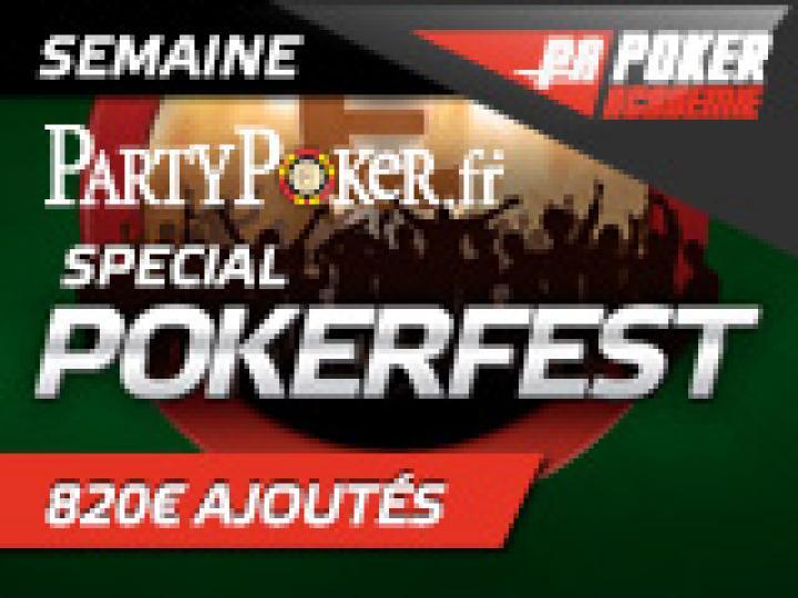 Semaine Spéciale PokerFest sur Party Poker - 820 € ajoutés