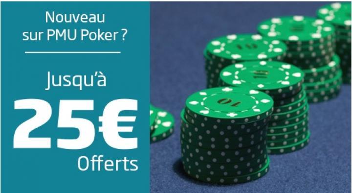 PMU Poker vous offre 25€ à l'inscription d'un nouveau compte