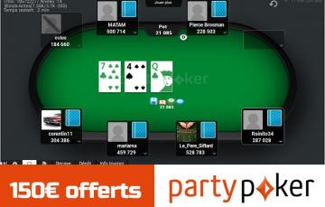 La FreeParty du jeudi : Freeroll 150€ ajoutés sur Party Poker
