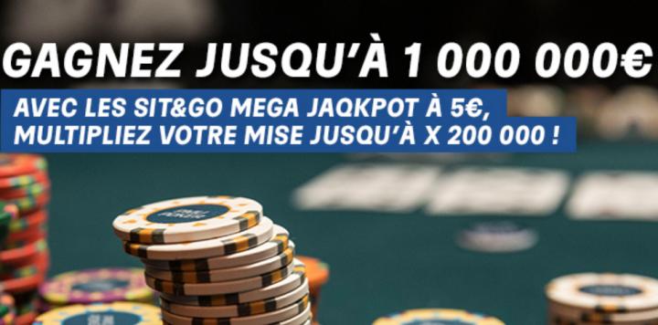 Sit&Go Mega Jaqkpot sur PMU Poker : Cagnotte de 1.000.000€ sur les buy-in 5€