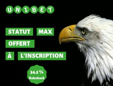 Poker Academie vous offre le statut VIP Max (Eagle) sur Unibet Poker