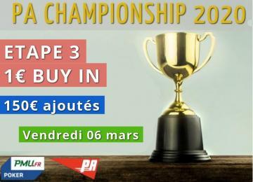 Championnat PA 2020 - Etape 3 (150€ ajoutés)