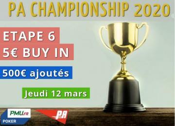 Championnat PA 2020 - Etape 6 (500€ ajoutés)