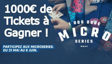 On vous qualifie pour le Main Event des Micro Series : 1000€ ajoutés (36 tickets) !