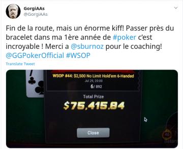 Coaché par Sburnoz, l'académicien GorgiAAs rase les WSOP après un an de poker ! ($160k de gains !)