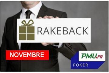 La promotion rakeback de novembre sur PMU Poker !