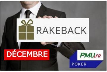 La promotion rakeback de décembre sur PMU Poker !