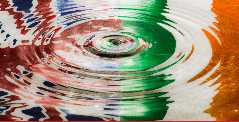 United Kingdom and Ireland Flag under water ripple.