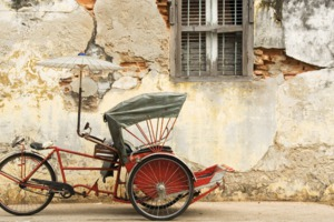 Old trishaw in George Town, Penang