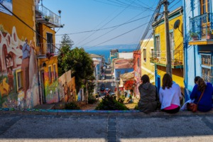 Steep street in Valparaíso, Chile
