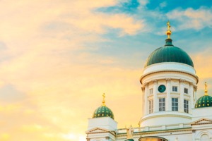 Helsinki cathedral at sunset