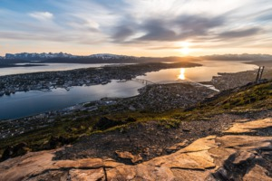View of Tromso from Mount Storsteinen, Norway
