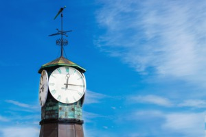 Clock on Aker Brygge dock, Oslo, Norway