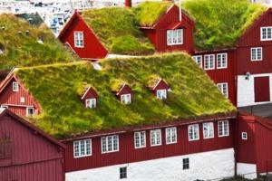 Turf roofs in Torshavn, Faroe Islands