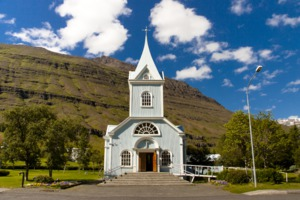 White church in Seydisfjordur, Iceland