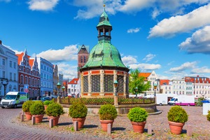 Market square in Wismar, Germany