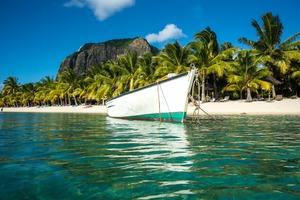 Boat off the coast of Mauritius