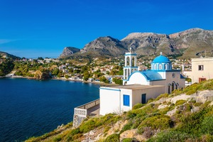 Blue domed church in Kalymnos, Greece