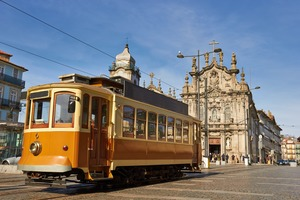 Historic tram in Porto, Portugal