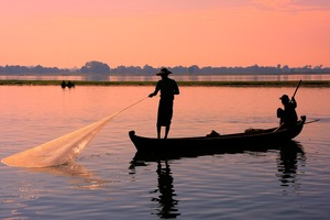 Local man fishing in Amarapura, Mandalay