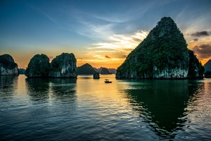 Sunset over Ha Long Bay, Vietnam