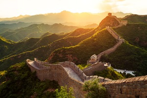 Great Wall of China at sunset