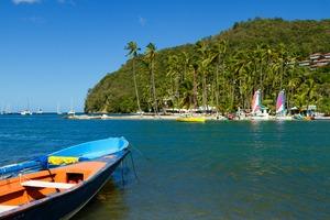 Boat in Marigot Bay, Saint Lucia