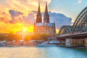 Cologne cathedral at sunset, Germany
