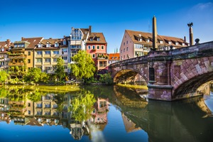 Pegnitz river in Nuremberg, Germany