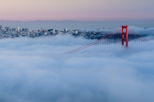 Golden Gate Bridge in the mist, San Francisco