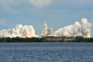 Space shuttle launch in Cape Canaveral, USA
