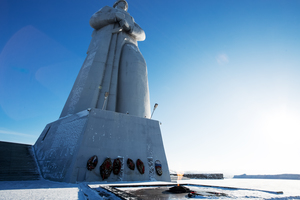 Defenders of the Soviet Arctic monument in Murmansk, Russia