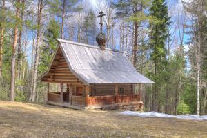 Old wooden church near Arkhangelsk, Russia