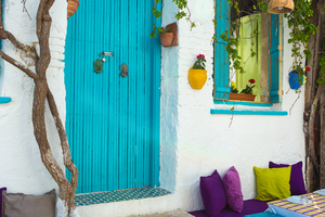Colourful house in Bozcaada, Turkey
