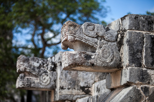 Mayan carvings at Chichén Itzá, Mexico