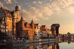 Motlawa river in Gdansk, Poland