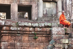 Monk at Angkor Wat, Cambodia