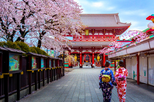 Geishas at Sensoji temple, Tokyo, Japan