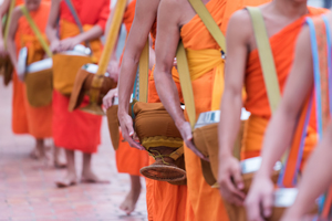 Alms giving in Luang Prabang, Laos