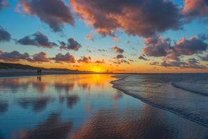 Sunset over Ostend beach, Belgium