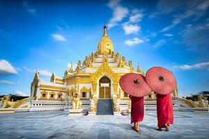 Buddha tooth relic pagoda in Yangon, Myanmar