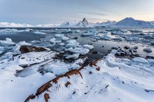 Icy landscape of Spitsbergen, Svalbard archipelago