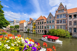 Flowers by canal in Ghent, Belgium