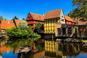 Old houses in Aarhus, Denmark