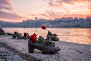 Shoe memorial on the Danube in Budapest, Hungary