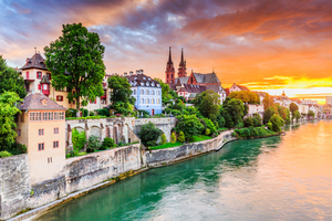 Rhine river, Basel old town, Switzerland