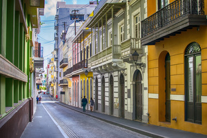 Old town streets of San Juan, Puerto Rico
